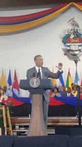 President Obama at Jamaican town hall meeting (Photo courtesy Angeline Jackson Facebook page)