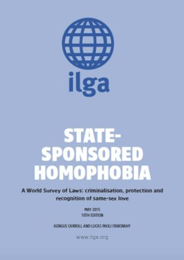 Cover of ILGA's 2015 edition of its report on State-Sponsored Homophobia. (Click the image for a link to the report)