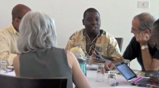 Episcopalians from the United States discuss the Bible and homosexuality in South Africa in 2011. (Click the image for video.) (Photo courtesy of the Chicago Consultation)